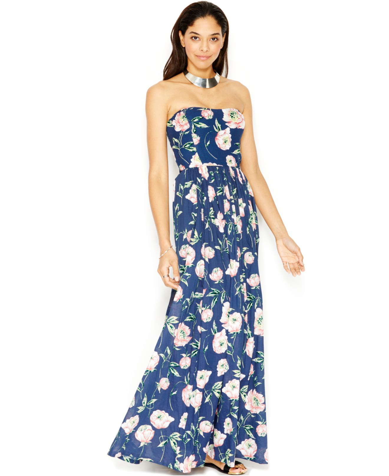 French connection Strapless Floral-Print Maxi Dress in ...