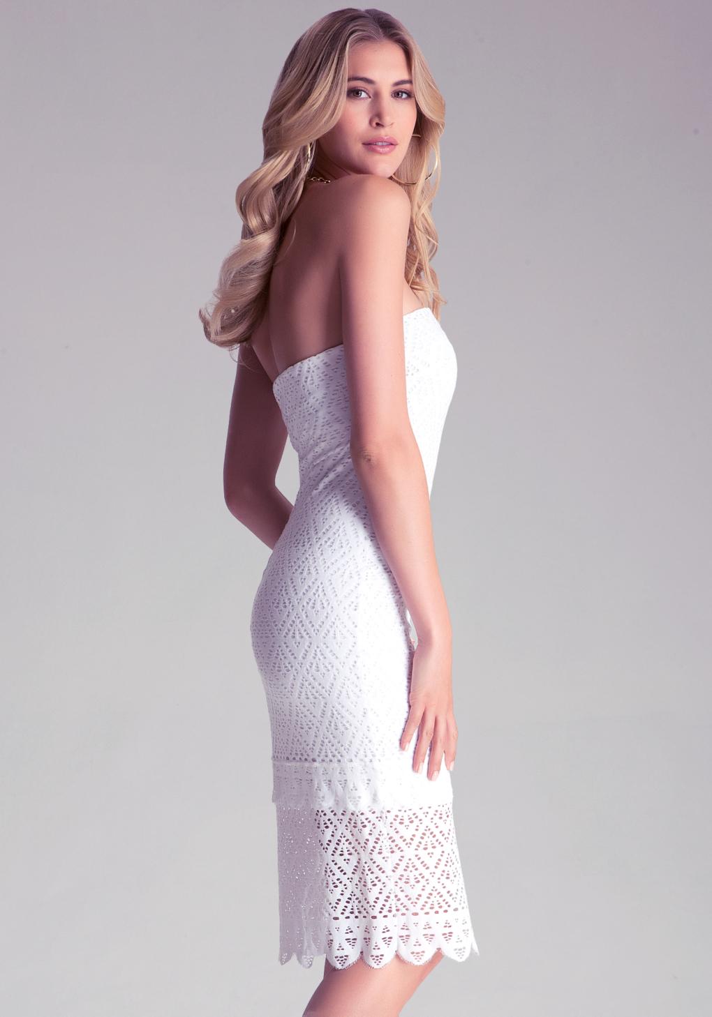 4c2938b5d1b7 Bebe Strapless Susie Midi Dress in White - Lyst
