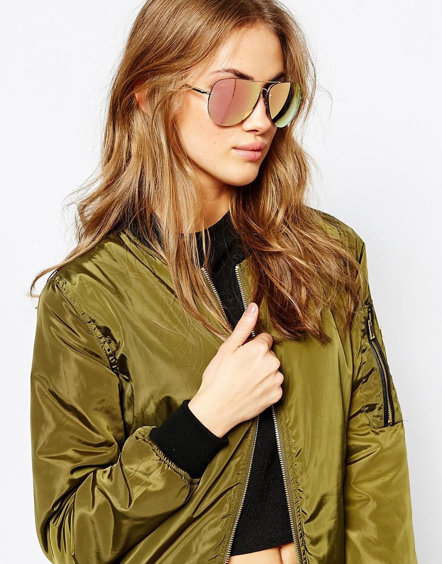 Oversized Mirrored Aviator Sunglasses  quay x amanda steele muse pink mirror oversized aviator in