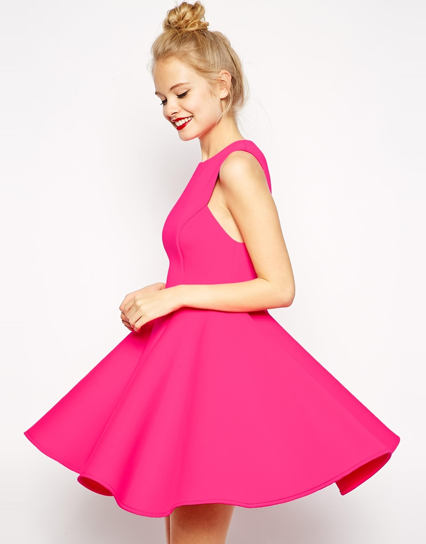 Lyst Asos Premium Bonded Fit And Flare Dress In Pink