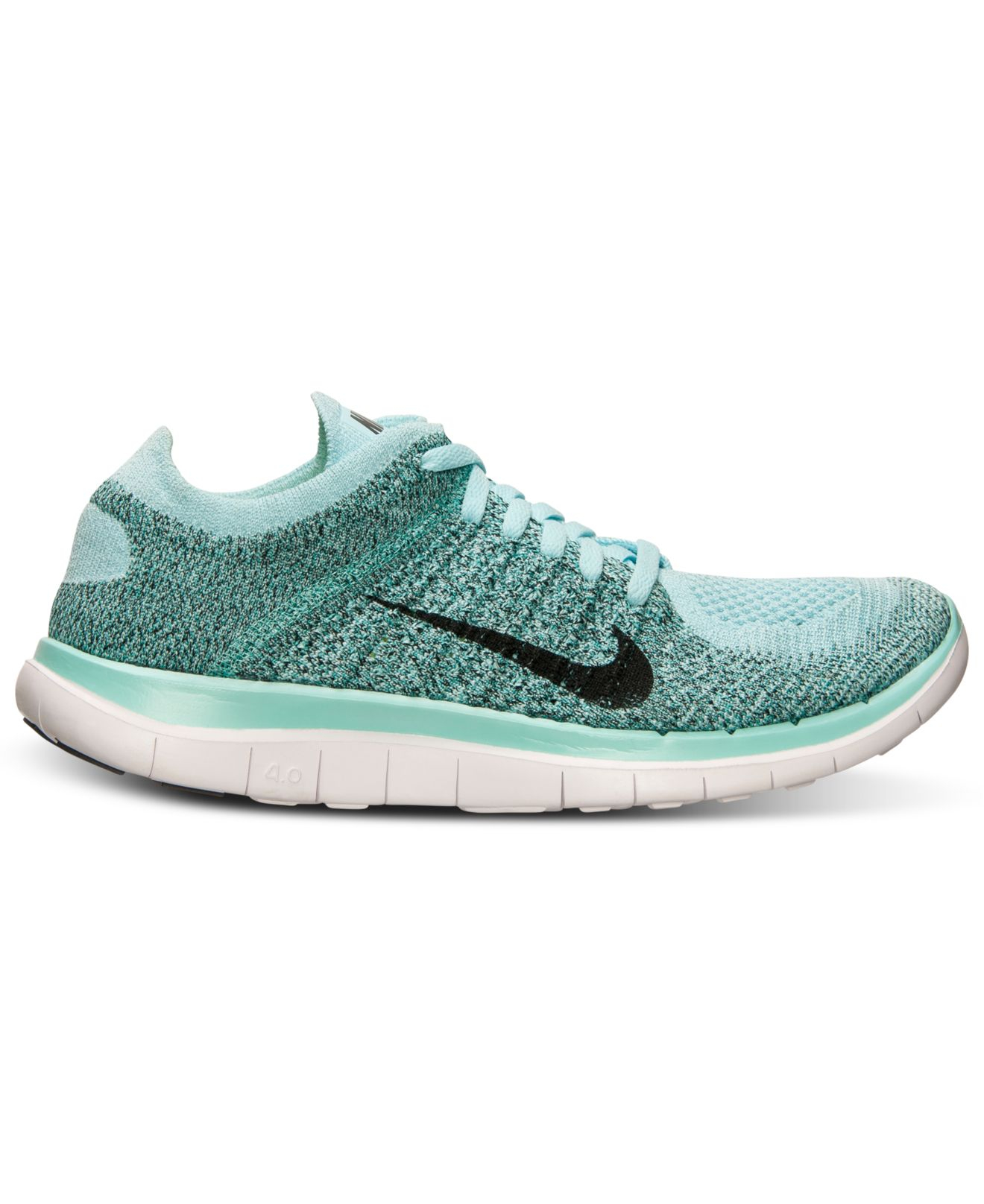 nike women 39 s free flyknit 4 0 running sneakers from finish line in blue lyst. Black Bedroom Furniture Sets. Home Design Ideas