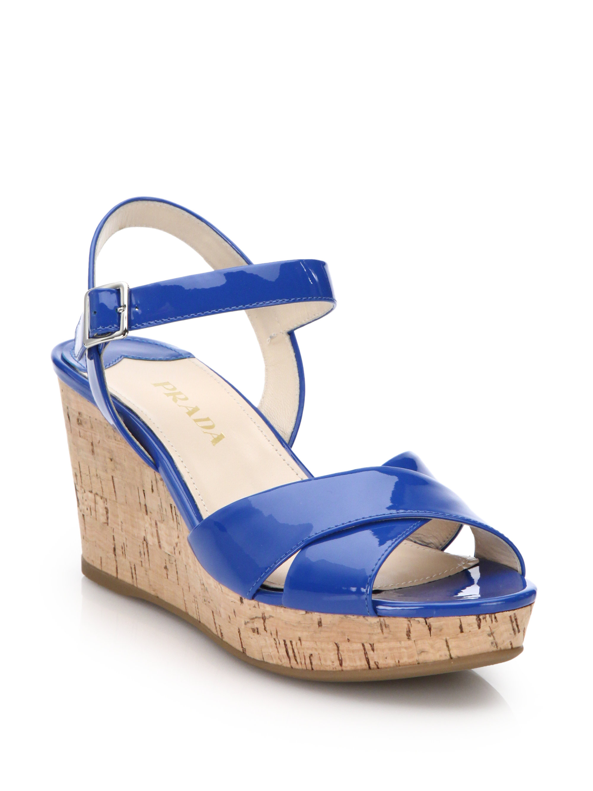 prada cork wedge patent leather sandals in blue lyst