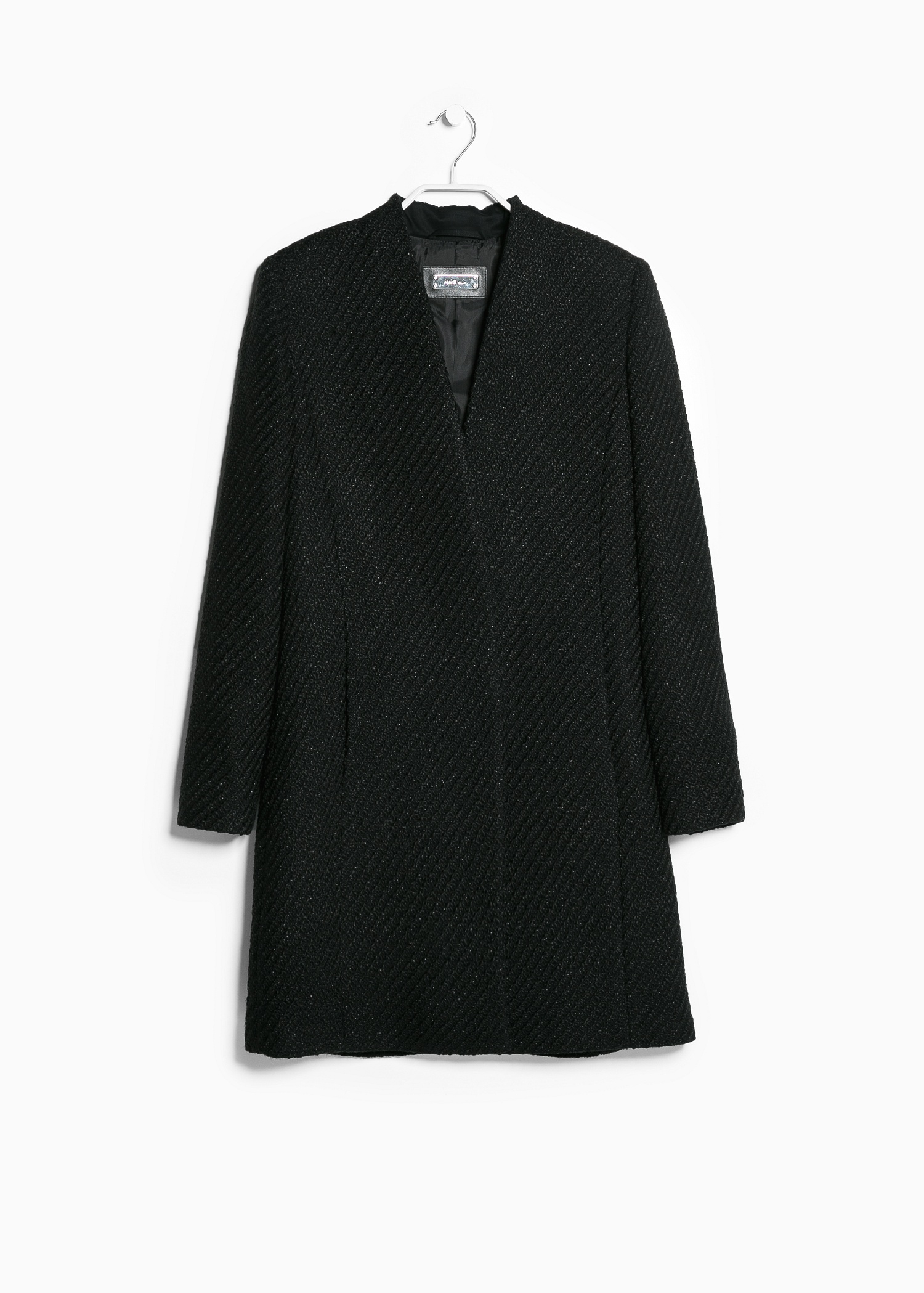 Lyst Mango Boucl 233 Coat In Black