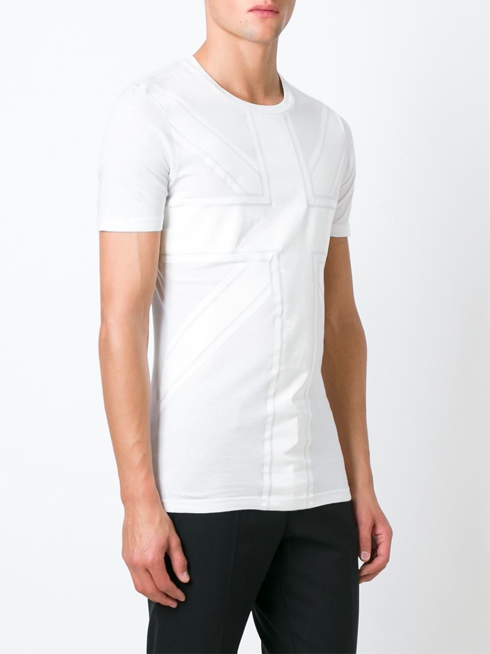 helmut lang union jack print t shirt in white for men lyst. Black Bedroom Furniture Sets. Home Design Ideas