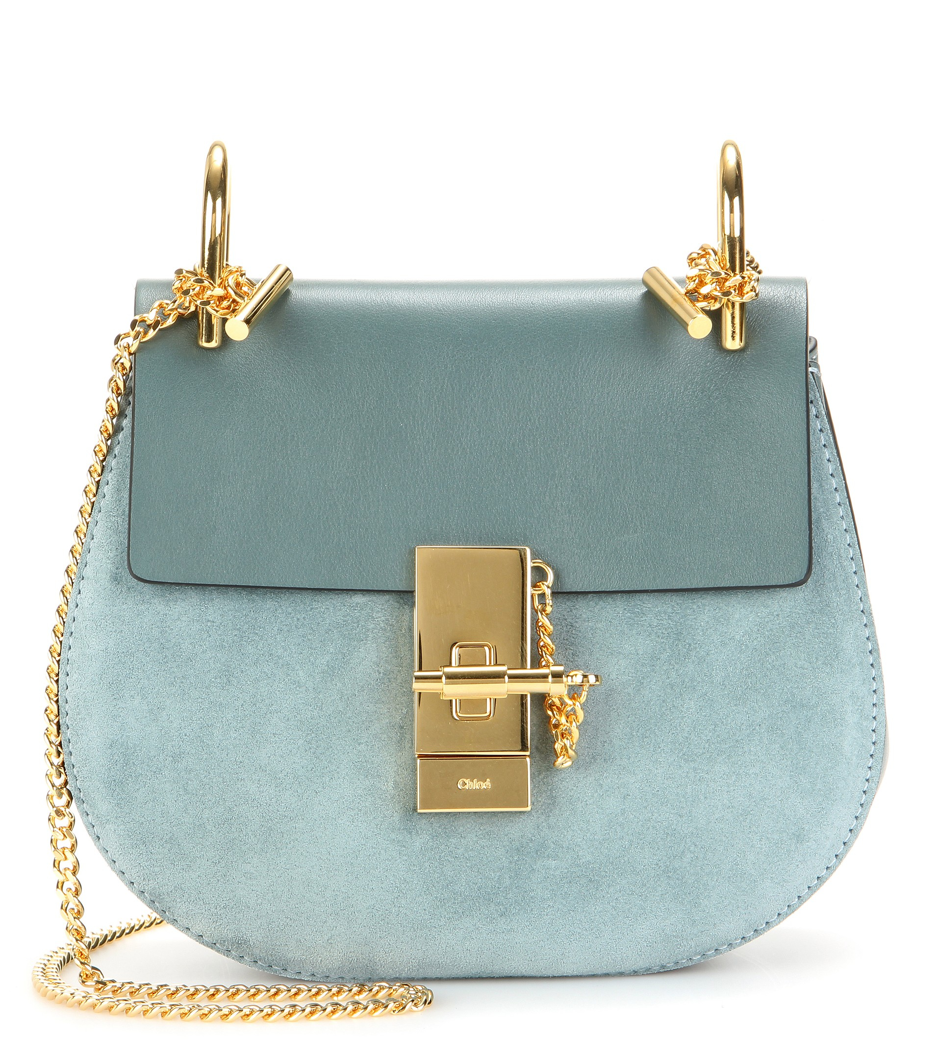 Chlo�� Drew Leather And Suede Shoulder Bag in Blue | Lyst