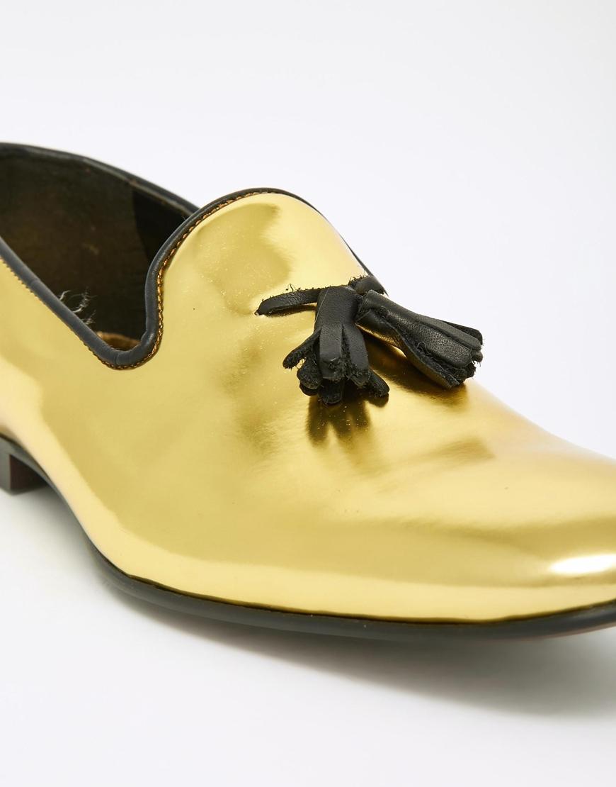 5273834b92e Lyst - ASOS Tassel Loafers In Metallic Gold Leather in Metallic for Men
