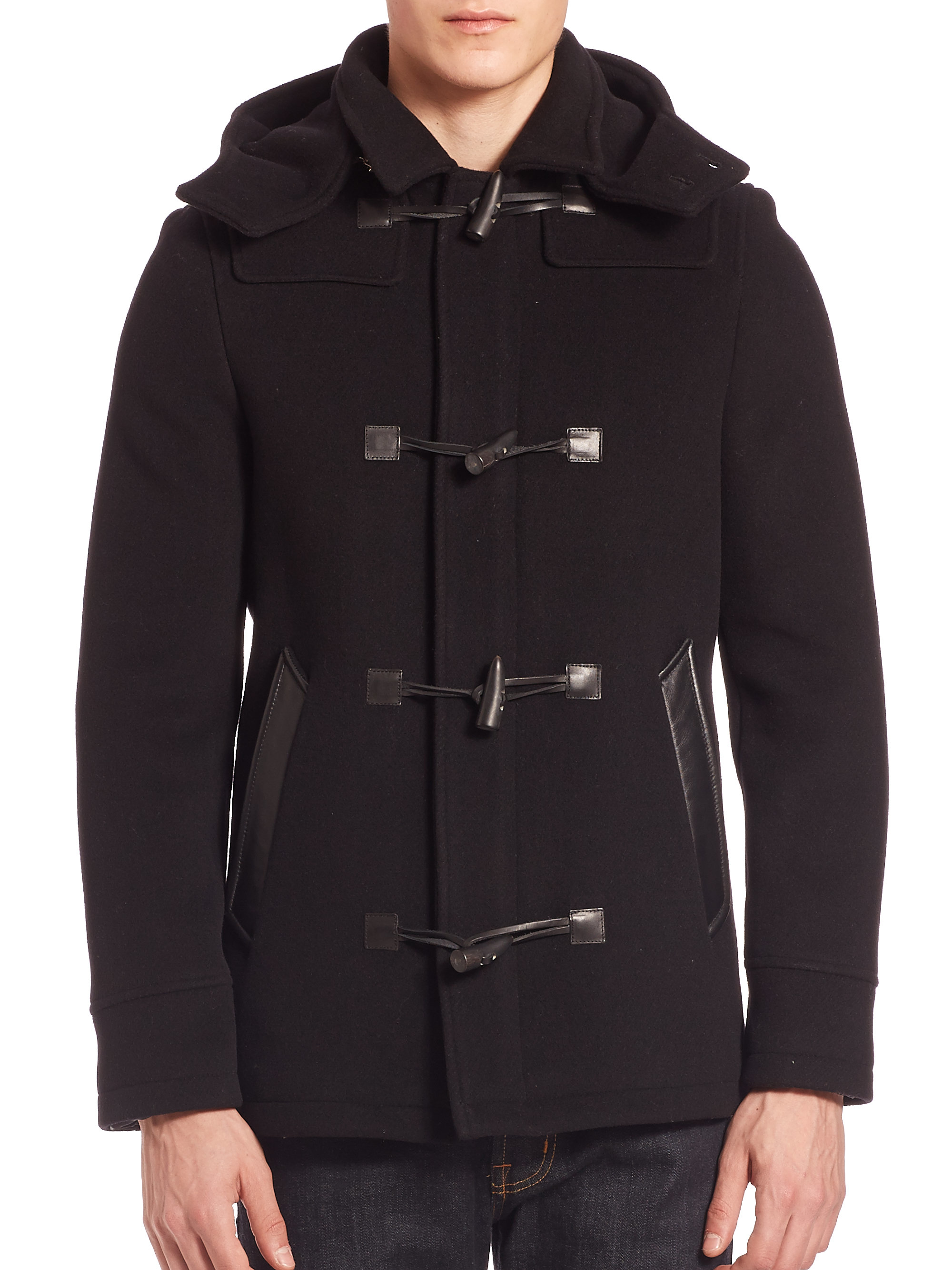 The kooples Lambskin & Wool Blend Hooded Duffle Coat in Black for ...