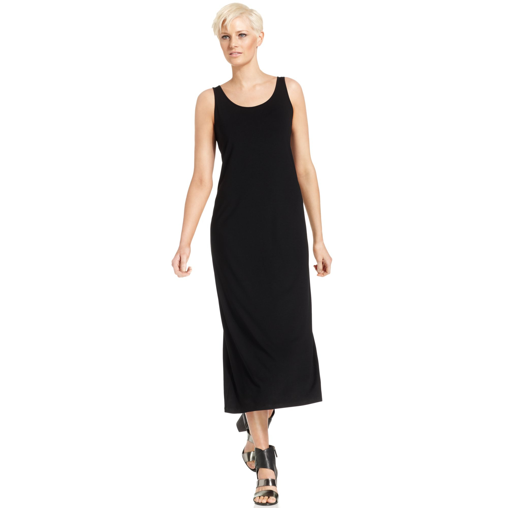 c0fa732494a Eileen Fisher Sleeveless Scoop Neck Maxi Dress in Black - Lyst