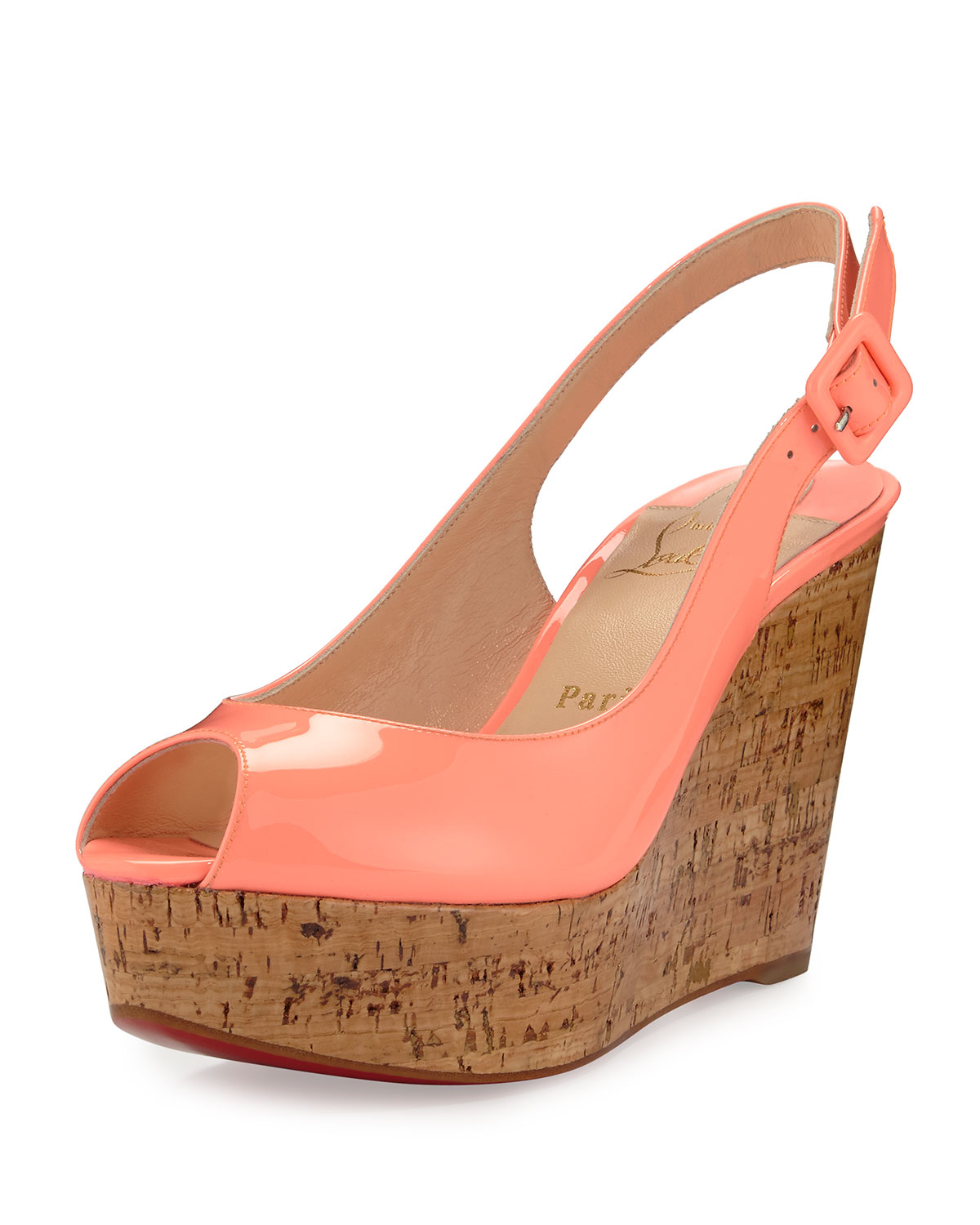 251c984d63b Lyst - Christian Louboutin Une Plume Patent Peep-toe Red Sole Wedge ...
