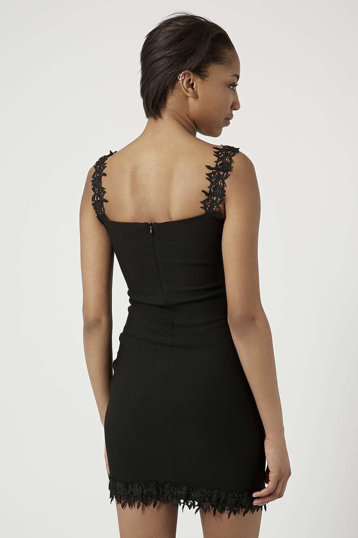 Topshop Lace Trim Bardot Mini Bodycon Dress By Rare In