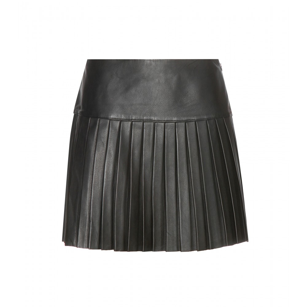 Polo ralph lauren Pleated Leather Skirt in Black | Lyst