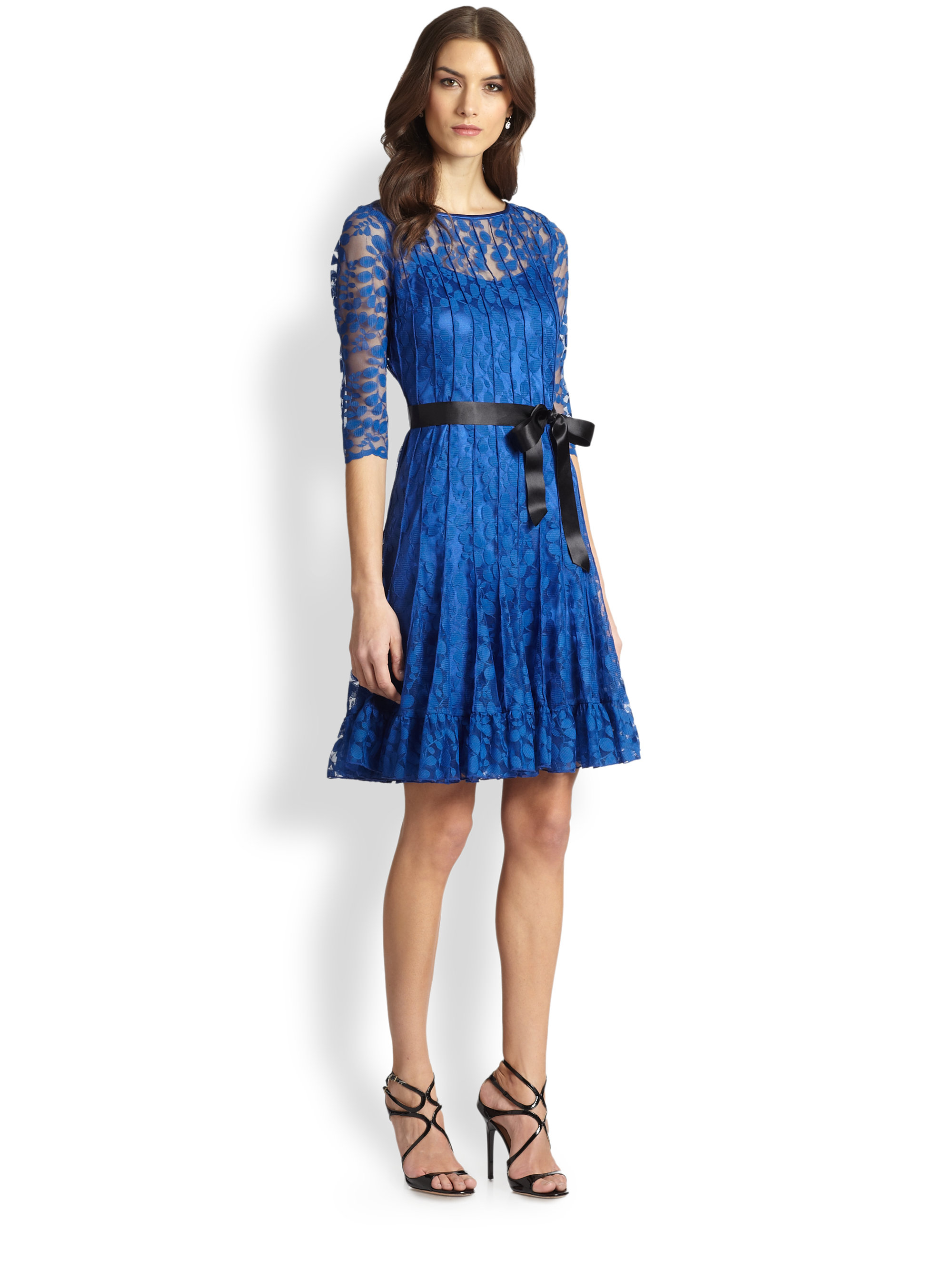 Teri jon Pintucked Lace Cocktail Dress in Blue | Lyst
