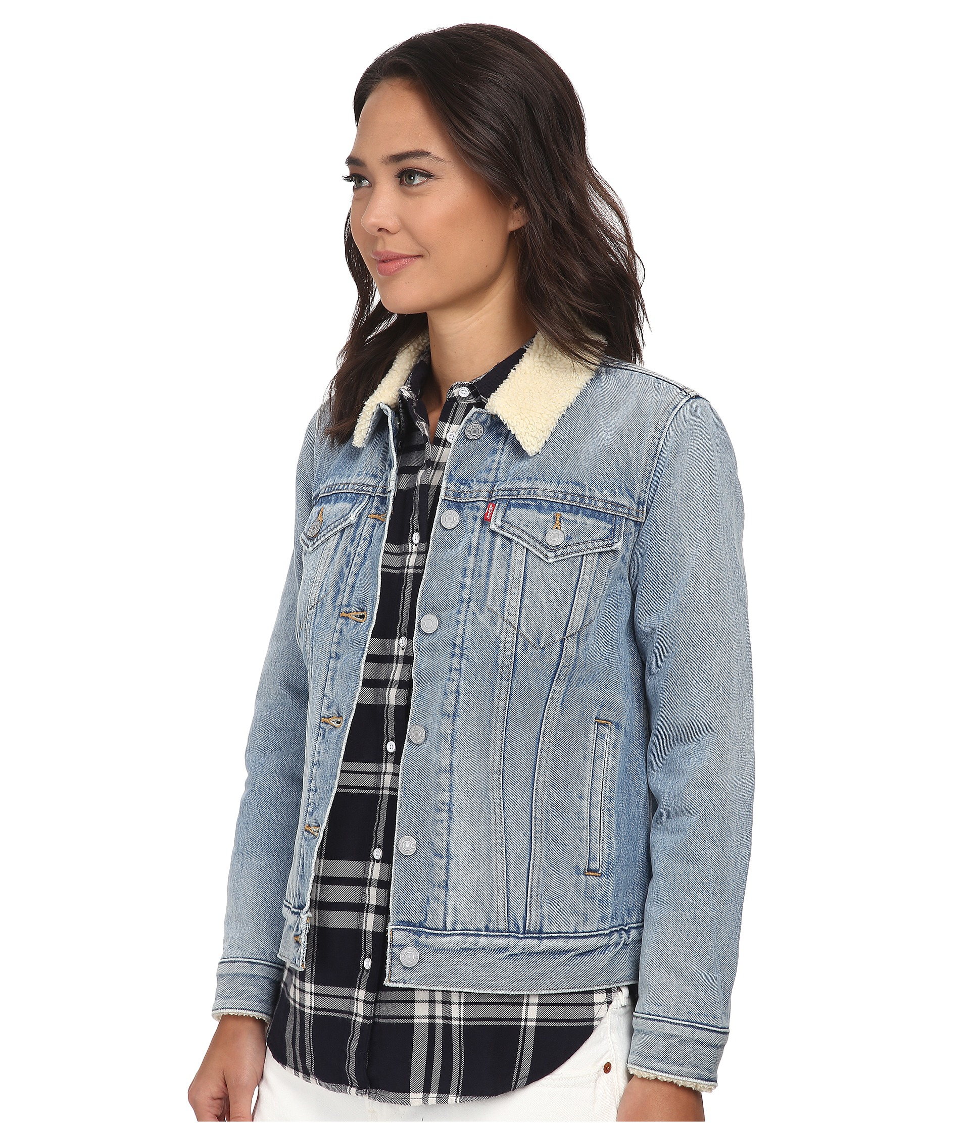 lyst levi 39 s boyfriend sherpa trucker jacket in blue. Black Bedroom Furniture Sets. Home Design Ideas