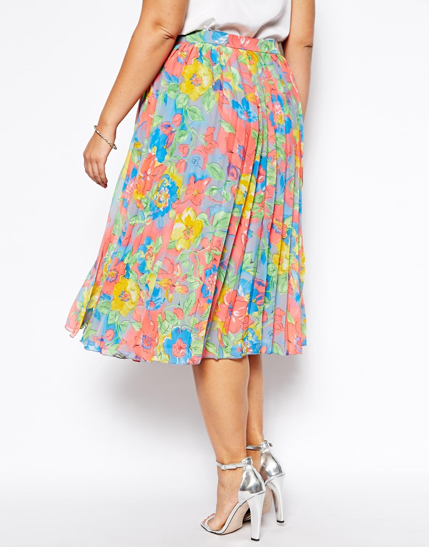 Lyst - ASOS Pleated Midi Skirt in Bright Floral Print