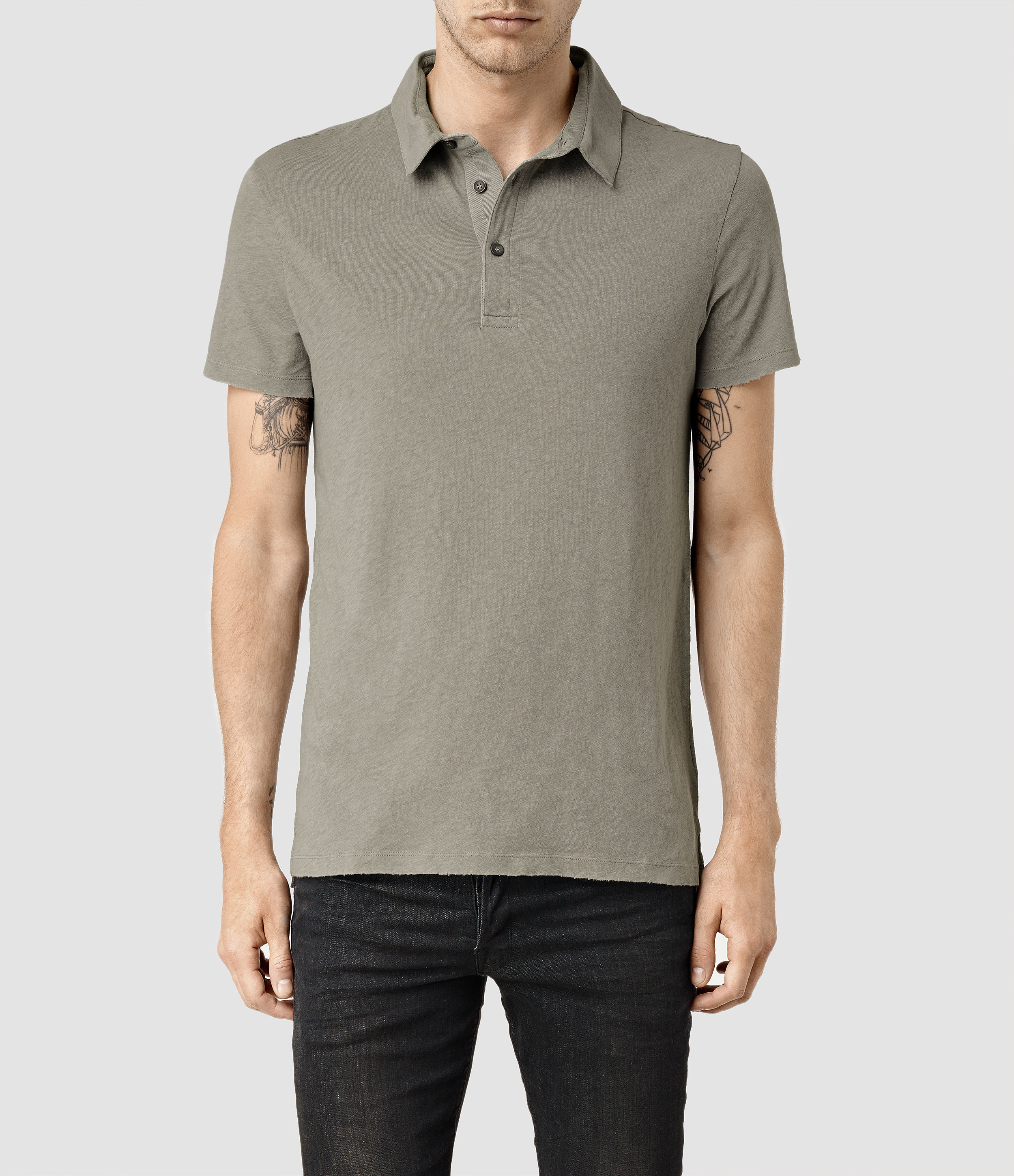 Allsaints ground polo in gray for men lyst for All saints polo shirt