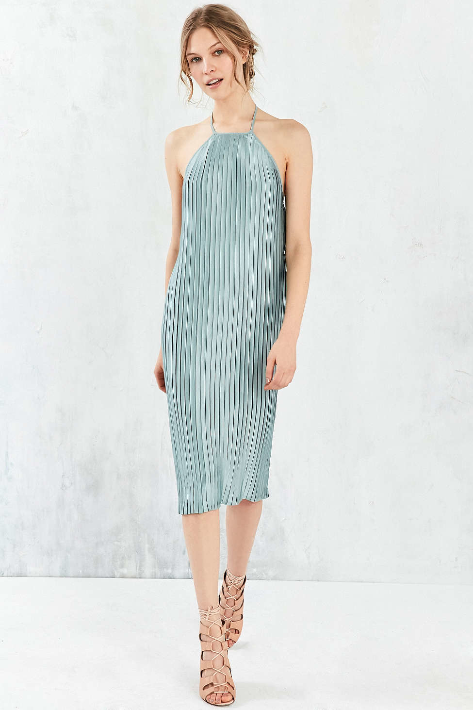 Lyst - Silence + Noise Pleated Column Midi Dress in Blue