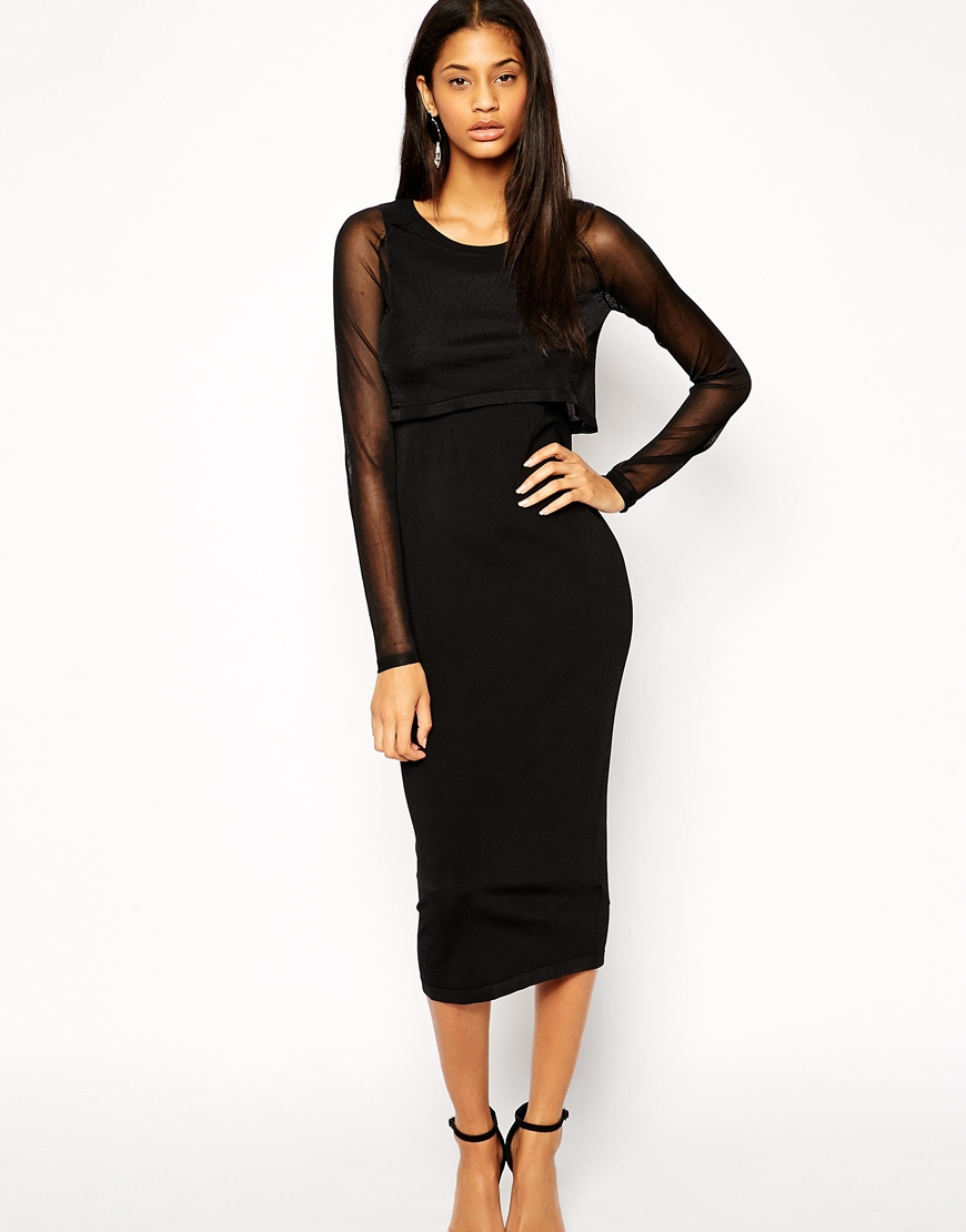 Lyst Asos Midi Dress In Knit With Sheer Overlay In Black