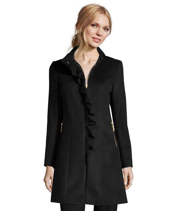 T tahari Black Wool Blend 'kenya' Ruffle Front Coat in Black | Lyst
