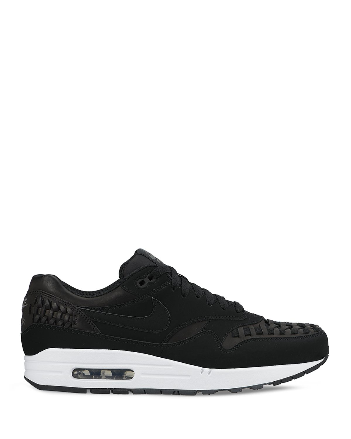 nike air max 1 woven leather sneakers in black for men lyst. Black Bedroom Furniture Sets. Home Design Ideas