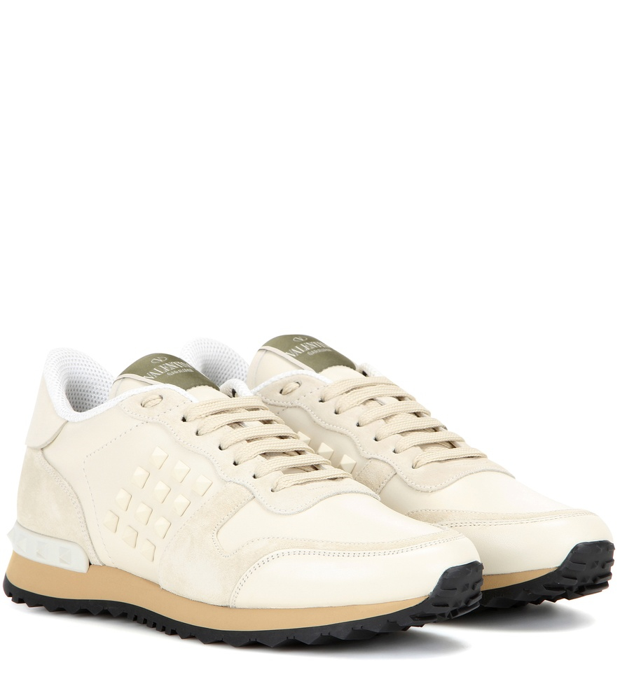 56382e94688eb Valentino Rockrunner Leather and Suede Sneakers in White - Lyst