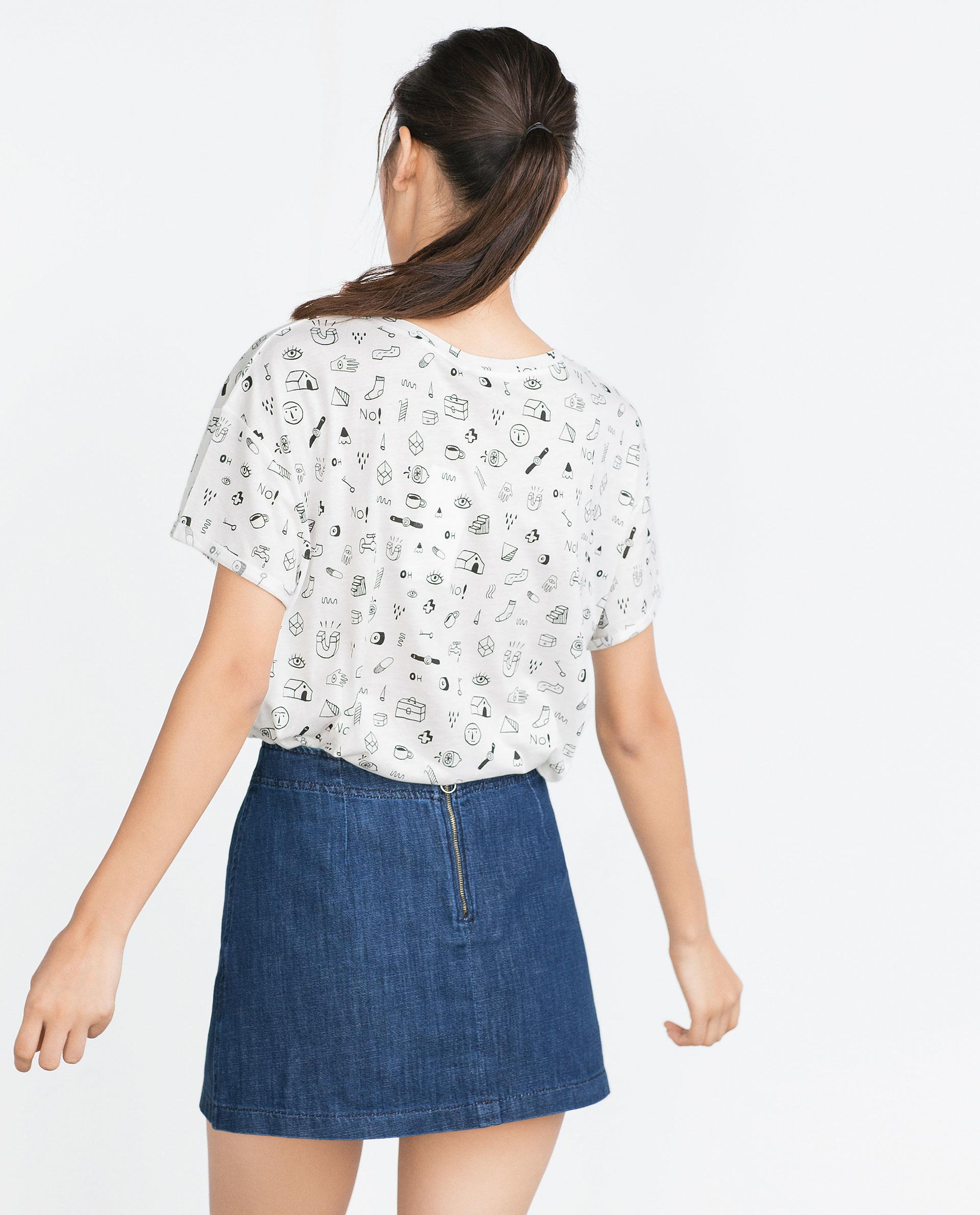Zara floral print t shirt floral print t shirt in white for Zara mens floral shirt