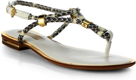 Michael Kors Hartley Snakeskin Amp Leather Thong Sandals In