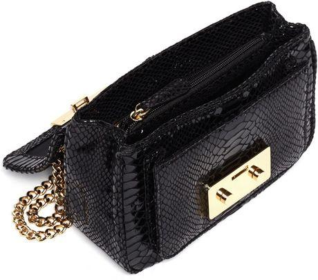 Michael Michael Kors Black Patent Python Small Sloan Shoulder Flap Bag 77