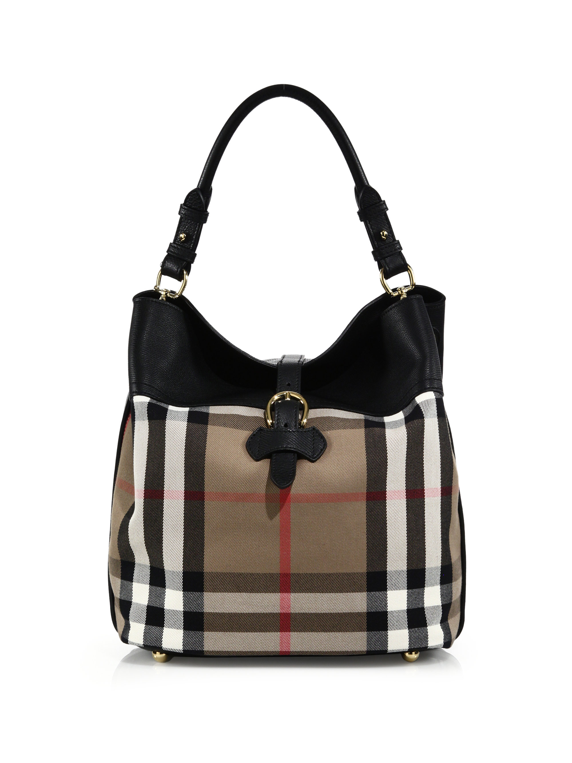 Burberry Sycamore Medium Cotton Amp Leather Hobo Bag In