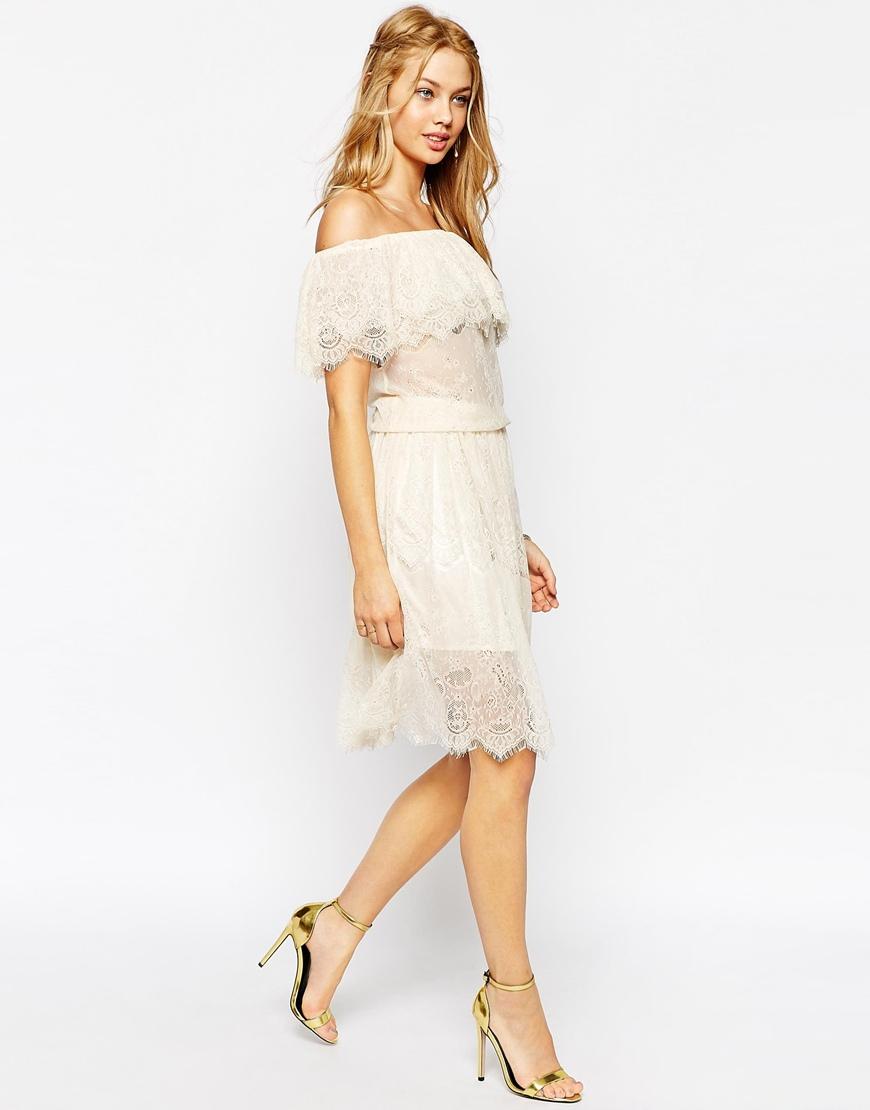 1c3c442ed5 Lyst - Darccy Vintage Boho Lace Off Shoulder Midi Dress in Natural
