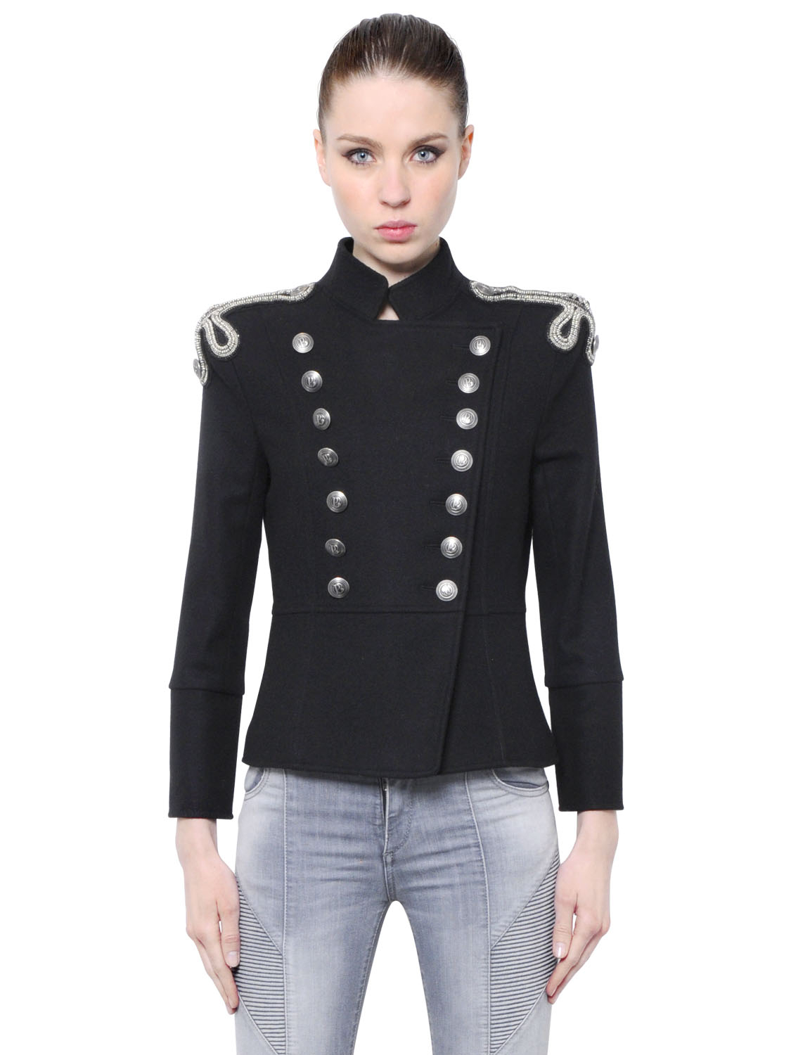 Lyst Balmain Embroidered Wool Felt Military Jacket In Black
