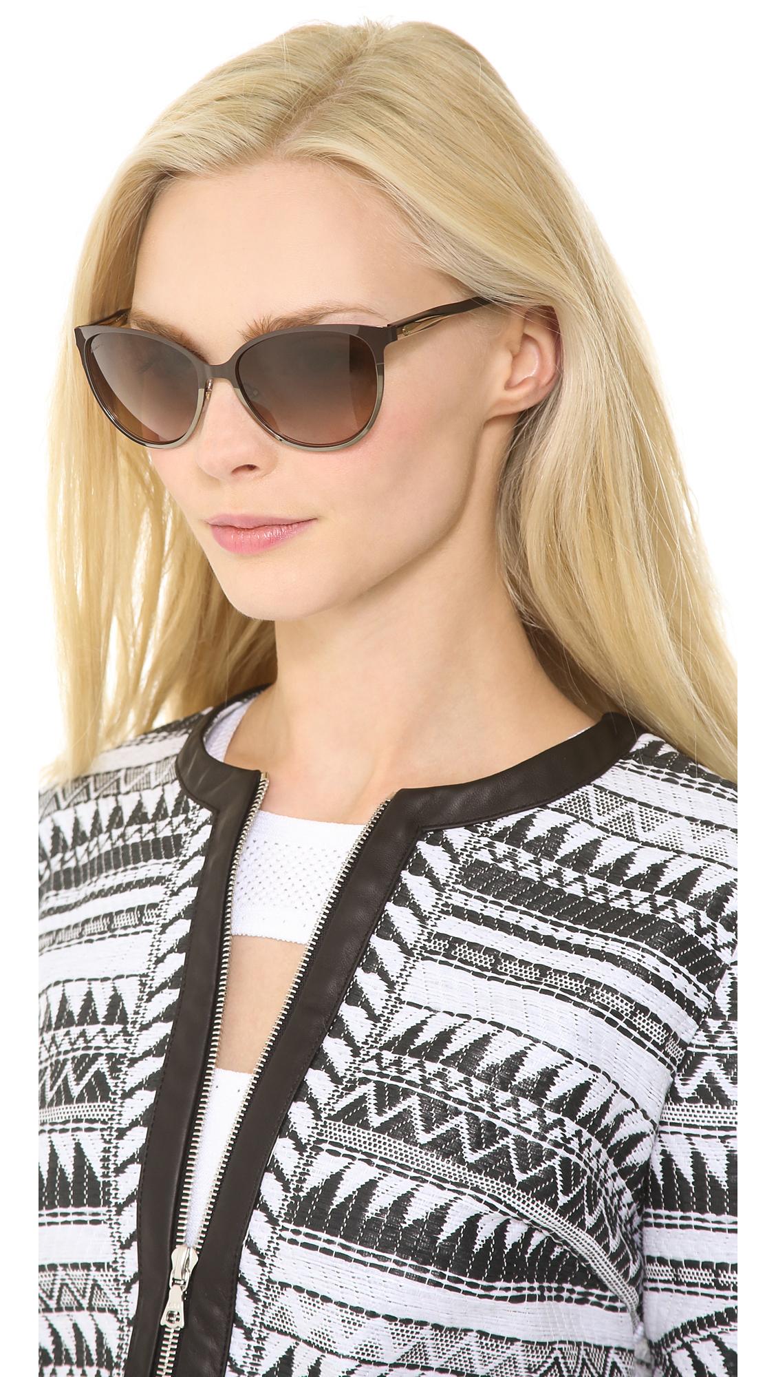 Gucci Cat Eye Sunglasses  gucci slight cat eye sunglasses shiny black grey grant in