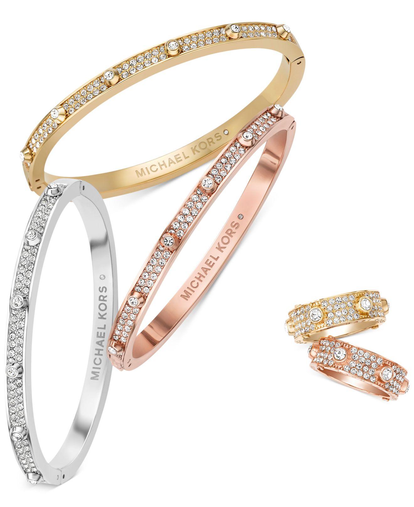 e41efd251db6 Lyst - Michael Kors Rose Gold-Tone Crystal Hinge Bangle Bracelet in ...