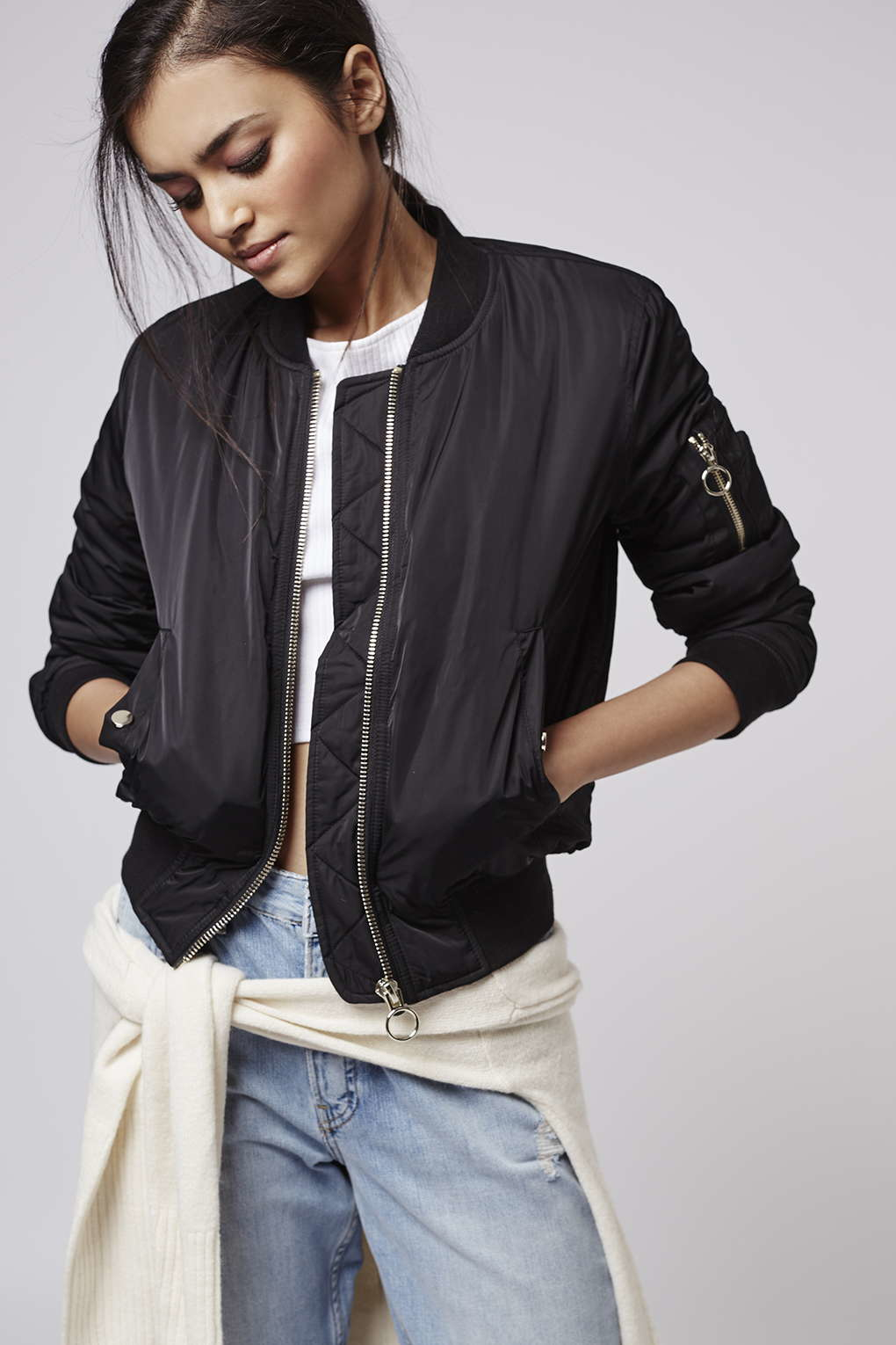 Topshop Petite Faux Fur Lined Bomber Jacket in Black | Lyst