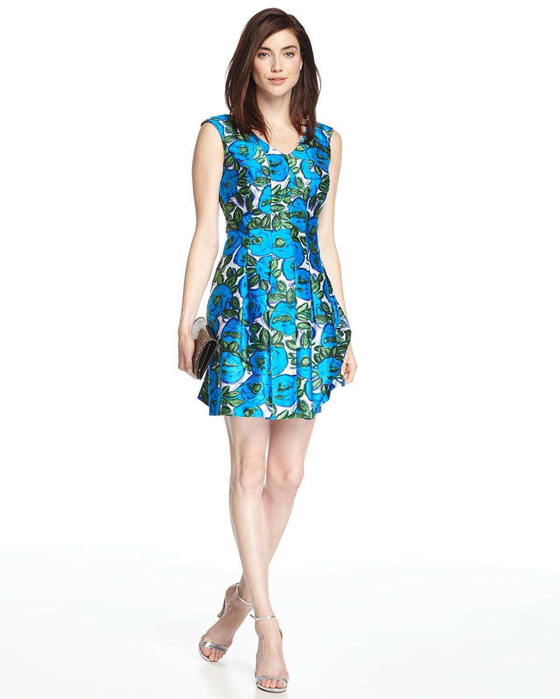 Green V-Neck Floral Dress