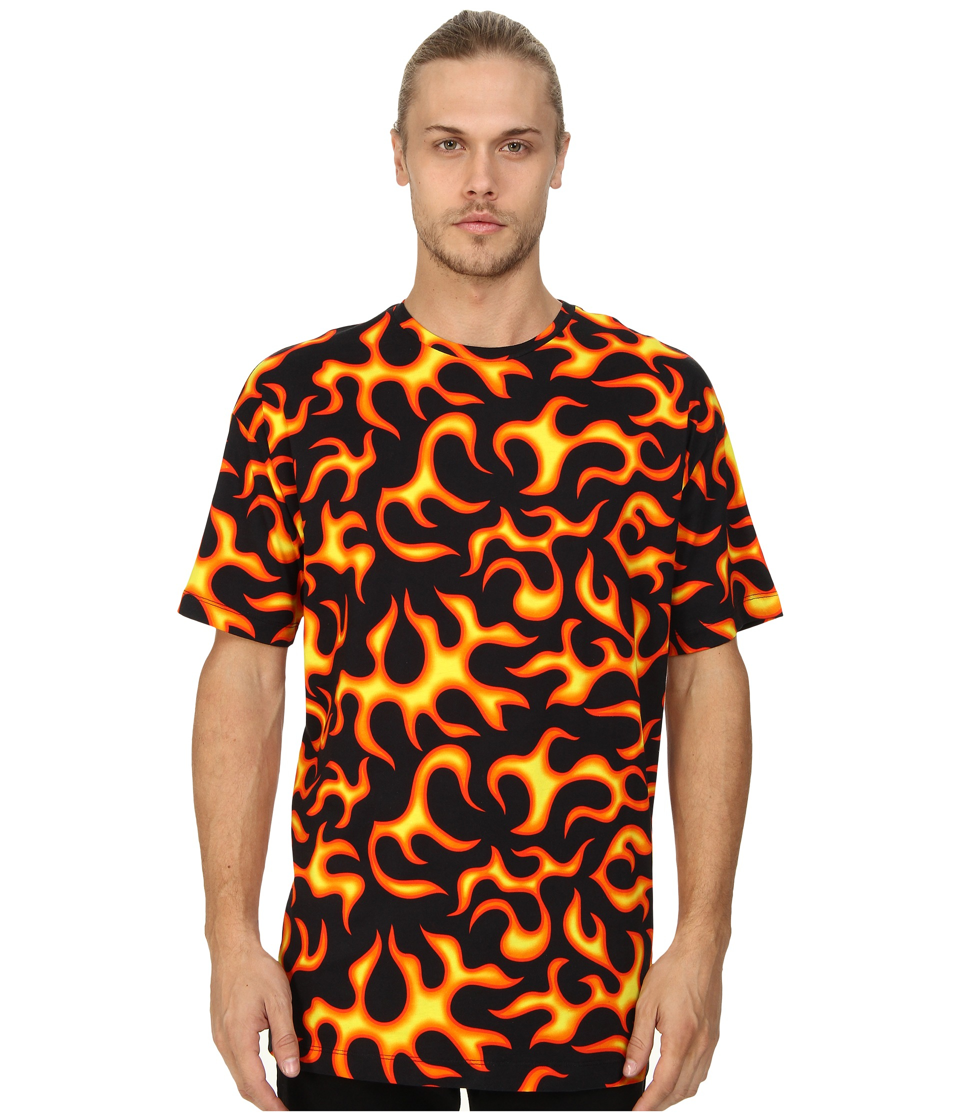 lyst love moschino all over fire print t shirt for men. Black Bedroom Furniture Sets. Home Design Ideas