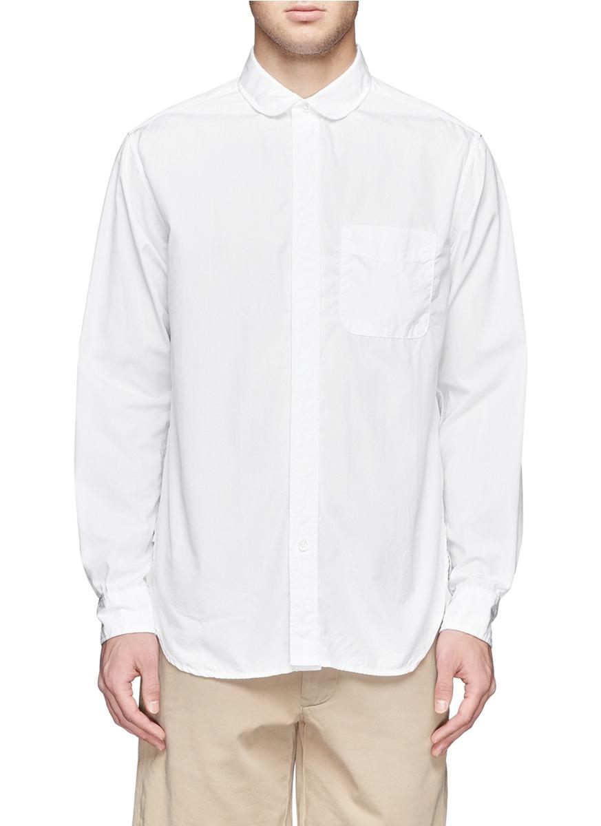 Lyst engineered garments round collar cotton shirt in for Round collar shirt men