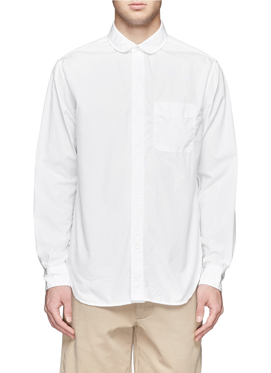 Engineered garments round collar cotton shirt in white for for Round collar shirt men