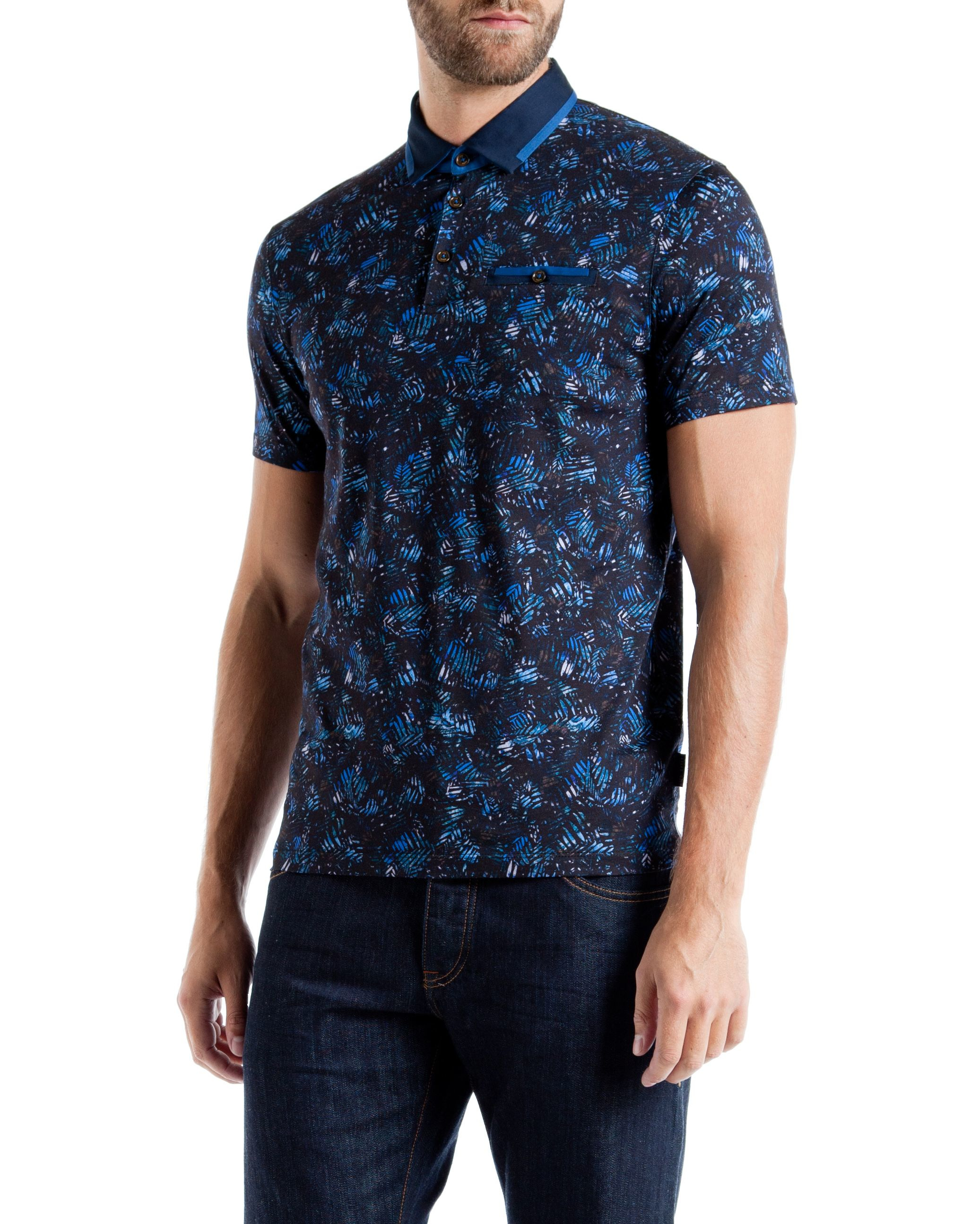Ted baker simorg tropical leaf print polo shirt in blue for Ted baker blue shirt