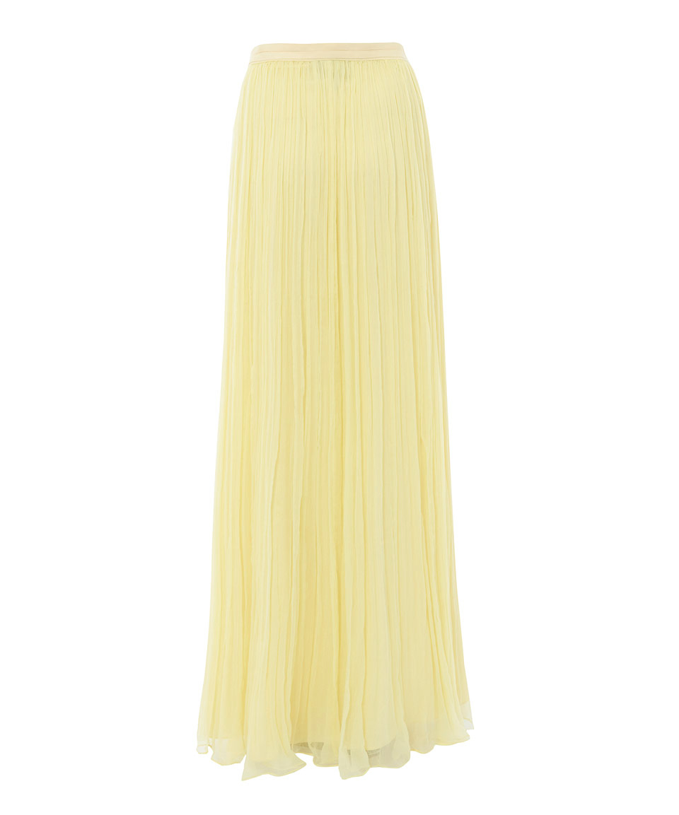bead9ab7b4 Needle & Thread Lemon Crinkled Chiffon Maxi Skirt in Yellow - Lyst