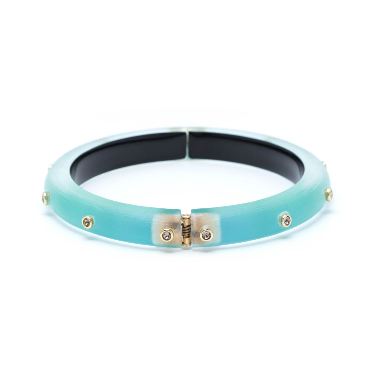 Alexis Bittar Golden Studded Hinge Bangle Bracelet Metallic teal izIv66s