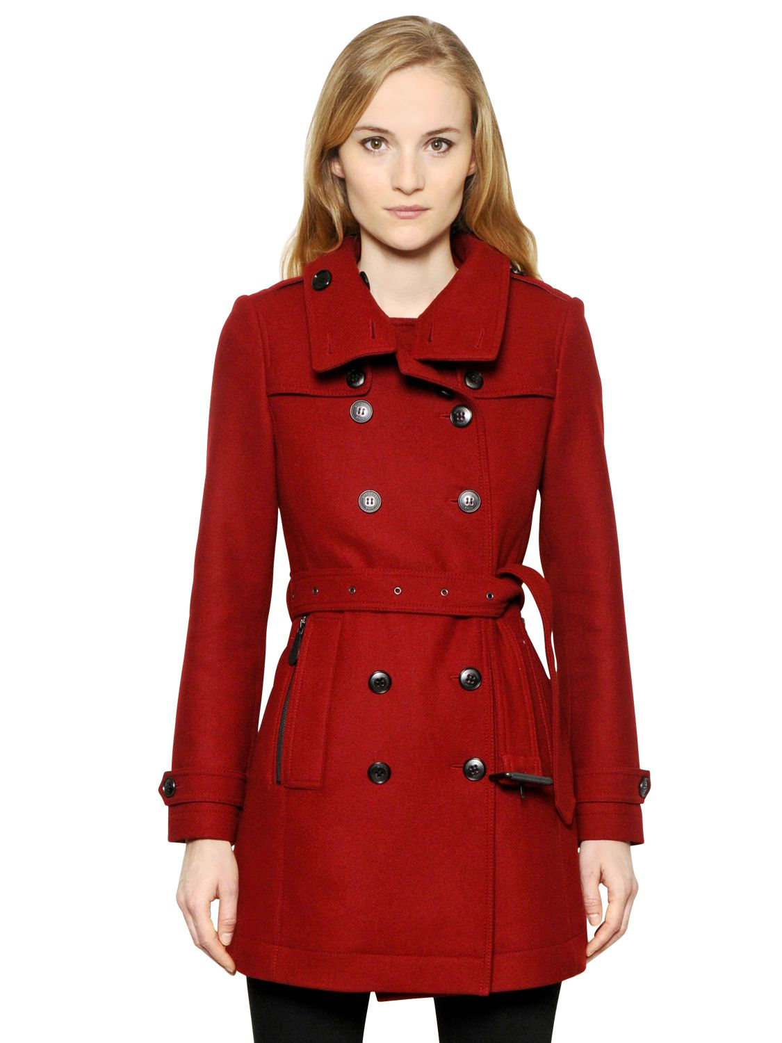 burberry brit daylesmoore wool blend trench coat in red lyst. Black Bedroom Furniture Sets. Home Design Ideas