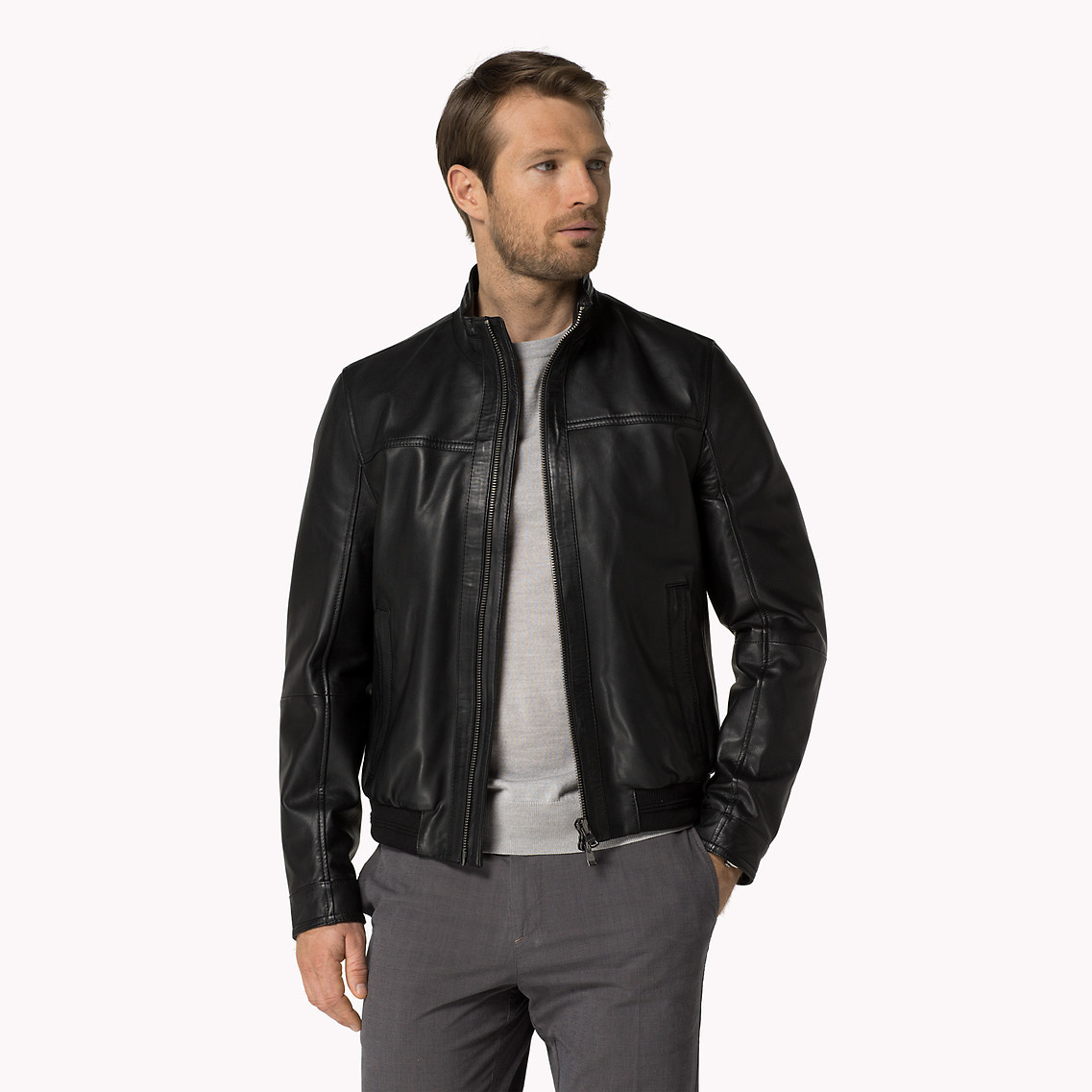 lyst tommy hilfiger ferdi leather jacket in black for men. Black Bedroom Furniture Sets. Home Design Ideas