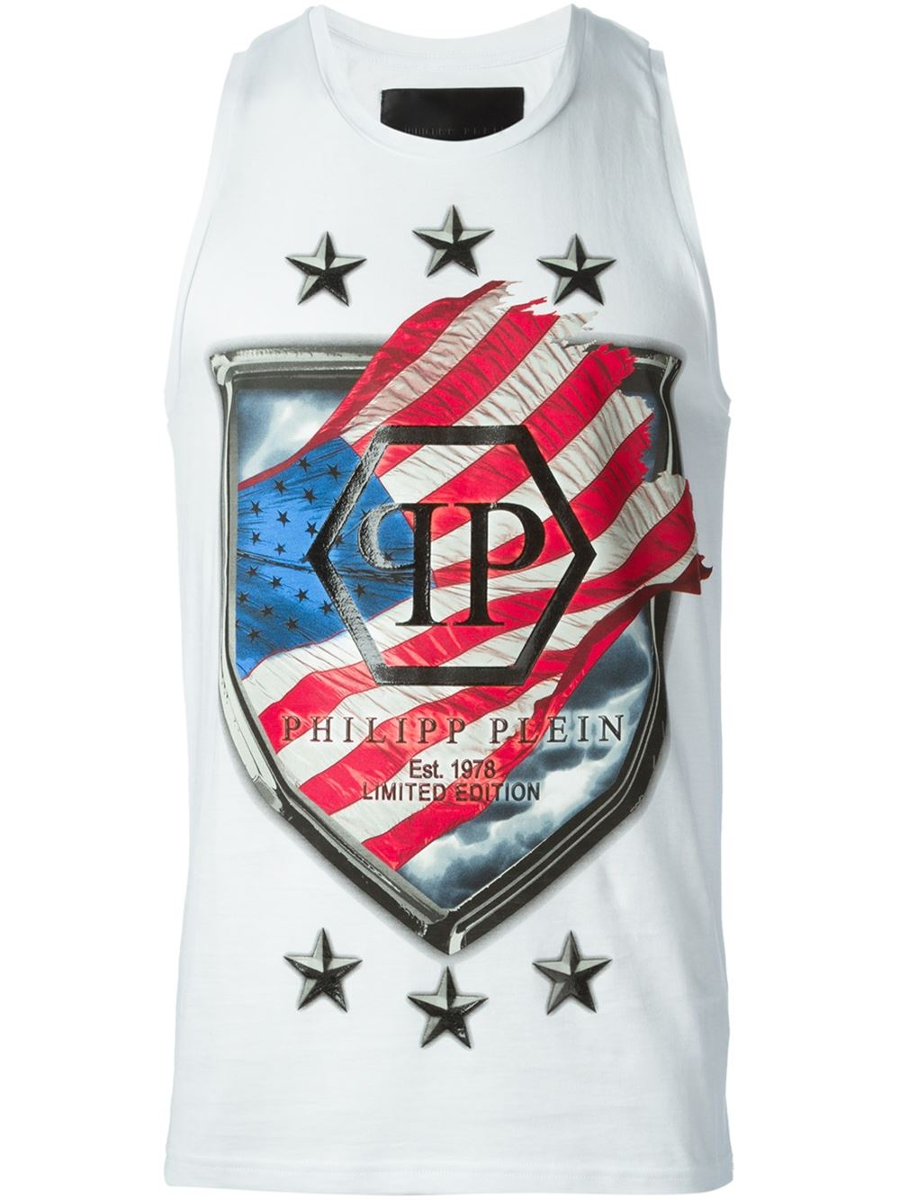 philipp plein flag and logo print tank top in white for men lyst. Black Bedroom Furniture Sets. Home Design Ideas