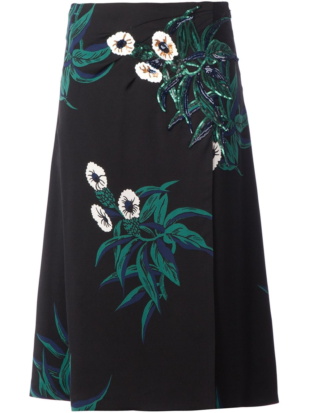 marni sequin embroidery a line skirt in black lyst