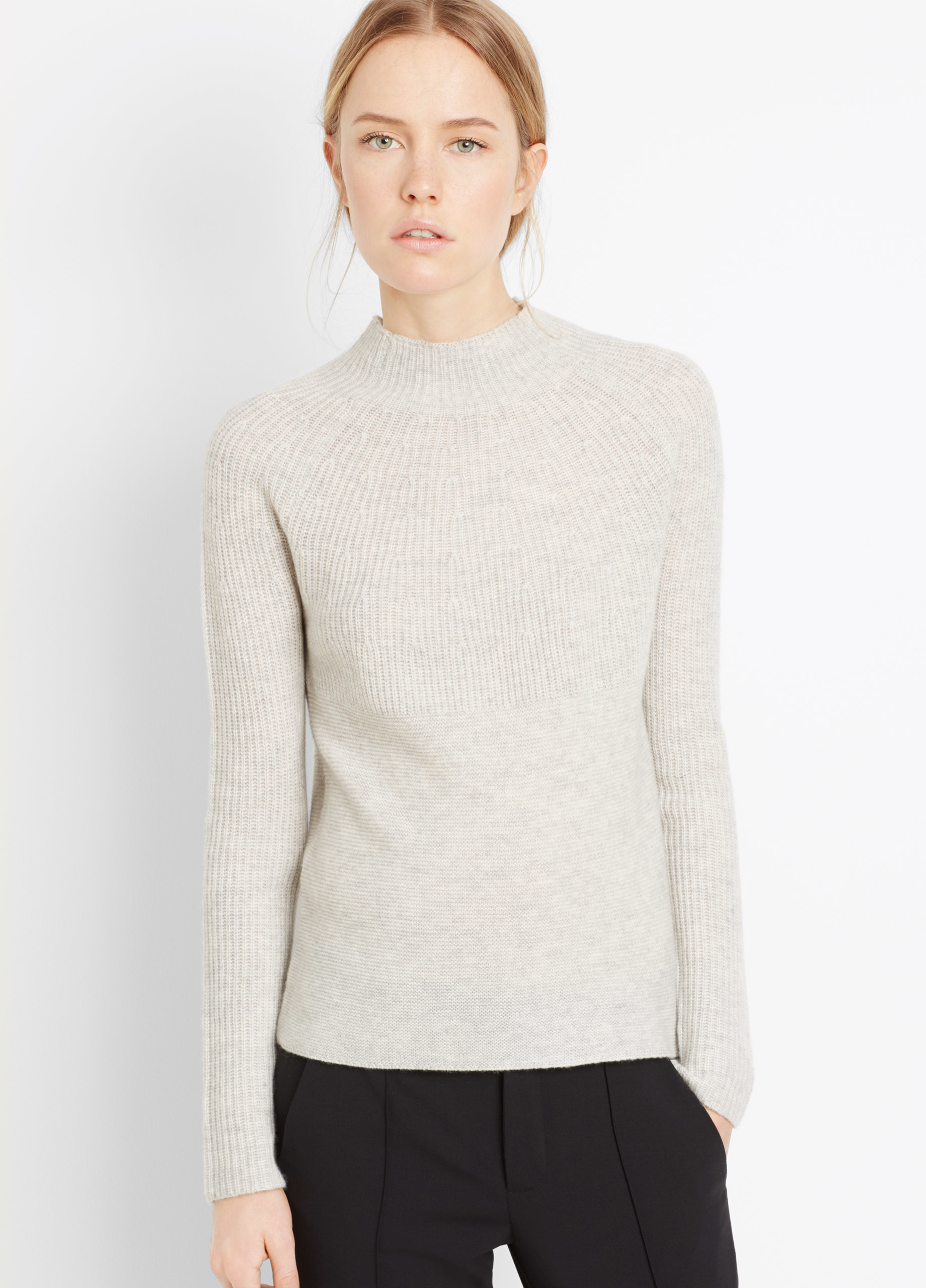 Vince Cashmere Directional Rib Mock Neck Sweater in Gray | Lyst