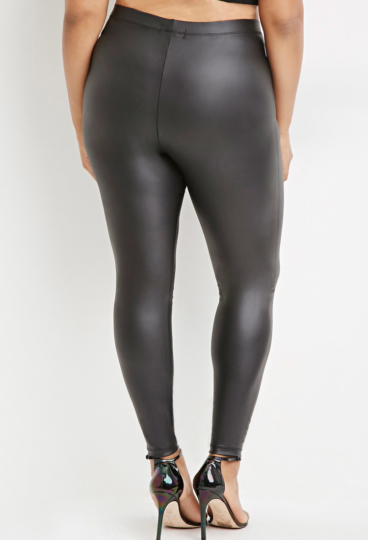 89f2e8aa095 Forever 21 Plus Size Metallic Faux Leather Leggings You ve Been ...