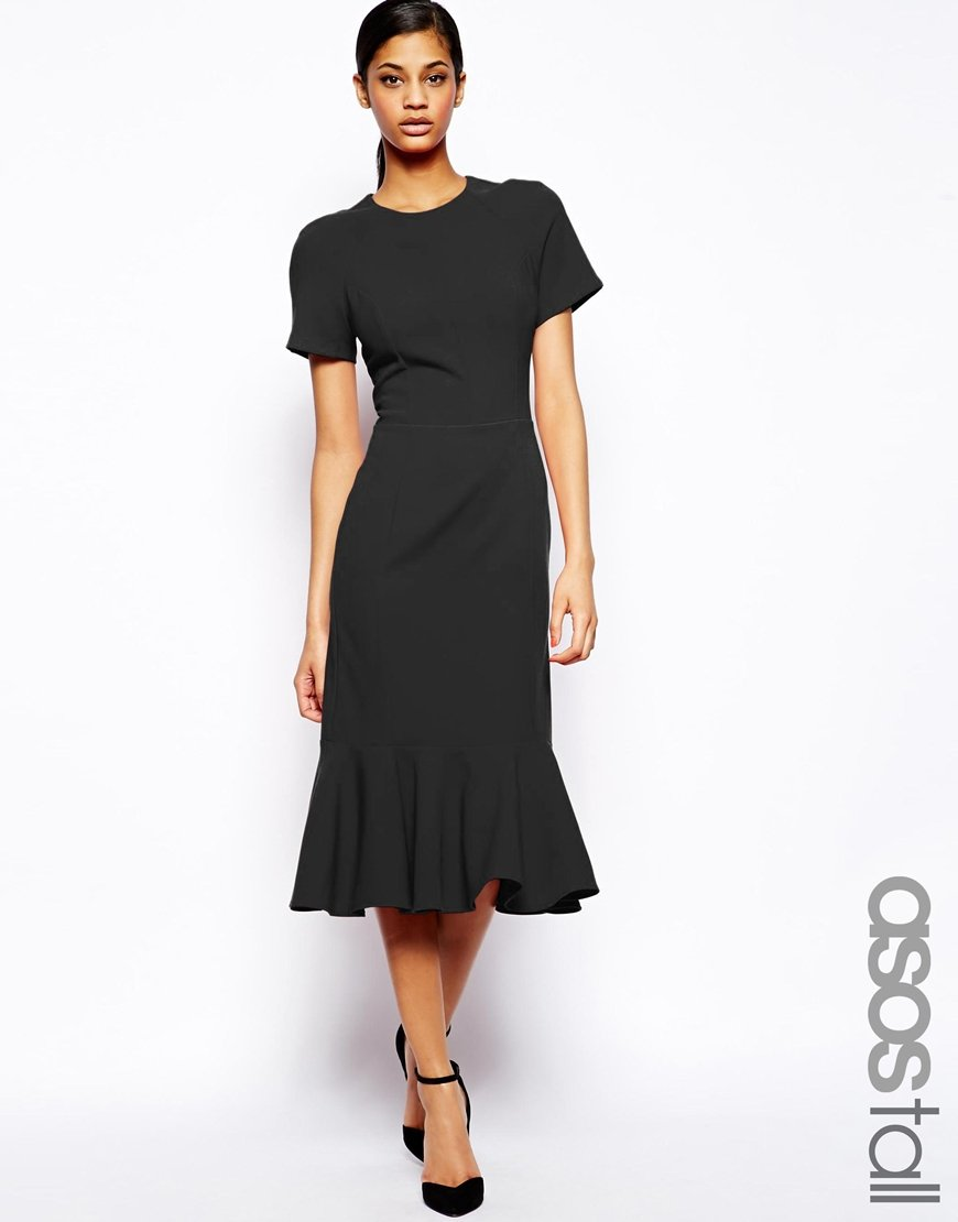Lyst - Asos Midi Dress With Peplum Hem in Red