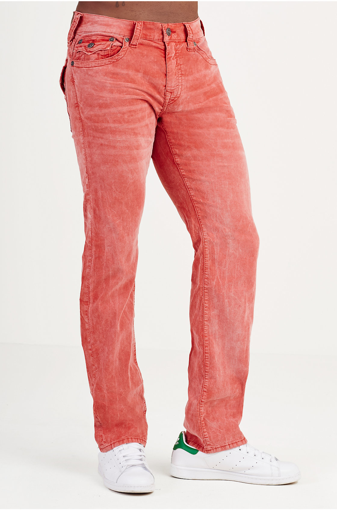 True religion Ricky Straight Acid Wash Mens Corduroy Pant in Red ...