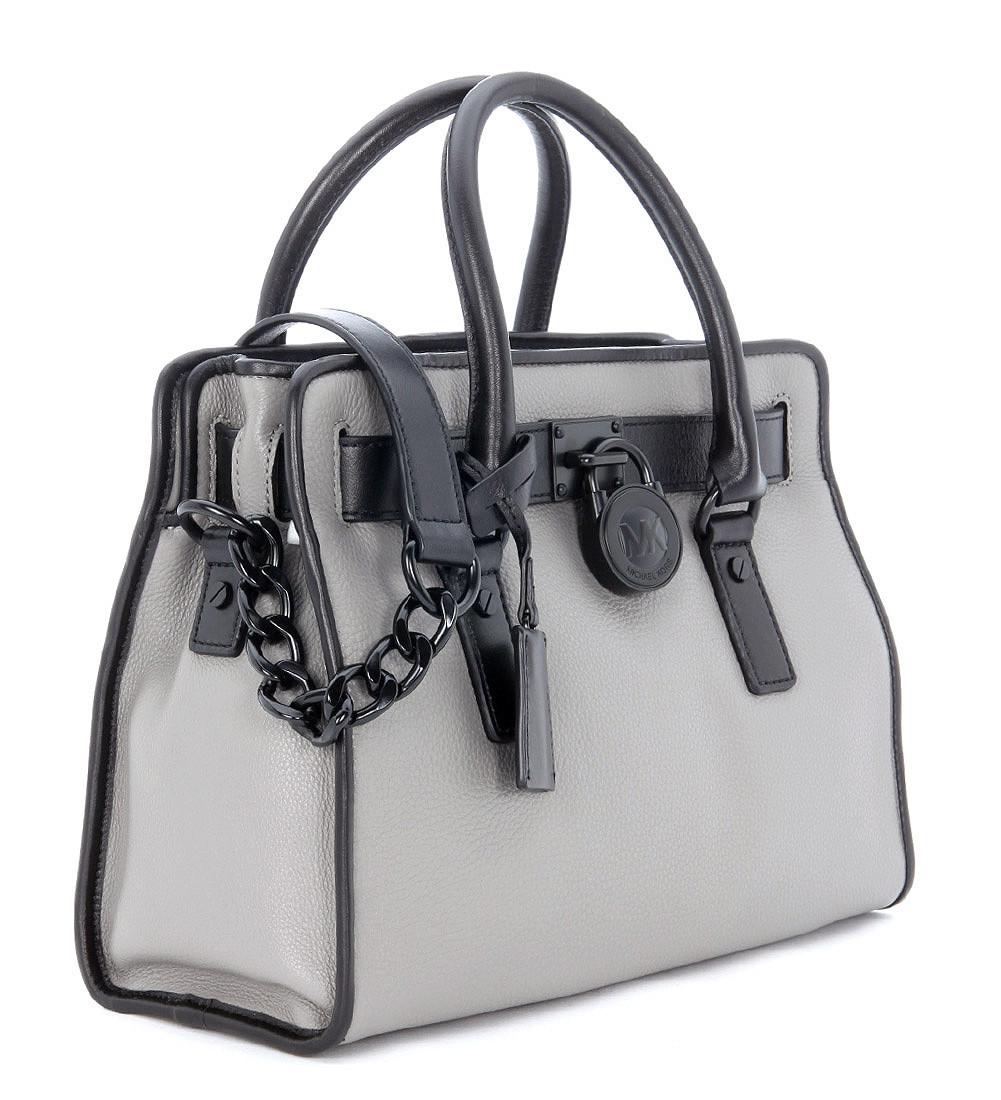 michael kors hamilton french handbag in black and grey tumbled leather. Black Bedroom Furniture Sets. Home Design Ideas