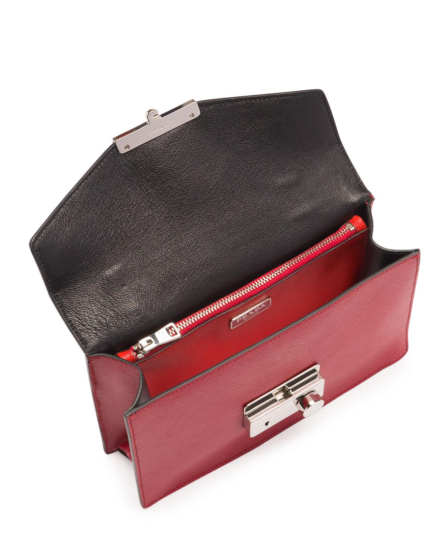 men's prada bags - prada wallet black + lacquer red